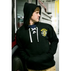 Old Style Lace Up Hooded Sweatshirt Black - Hockey
