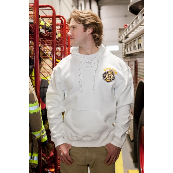 Old Style Lace Up Hooded Sweatshirt White - Hockey: LIMITED EDITION