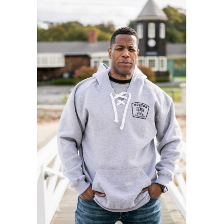 Station Style Hockey Themed Hoodie Oxford Gray