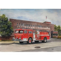 Engine 1 Painting by Retired Boston Fire Commissioner Paul Christian