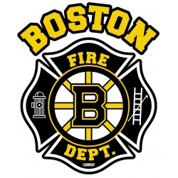 "4"" Window Decals Boston Fire Hockey - No Quantity Discount"