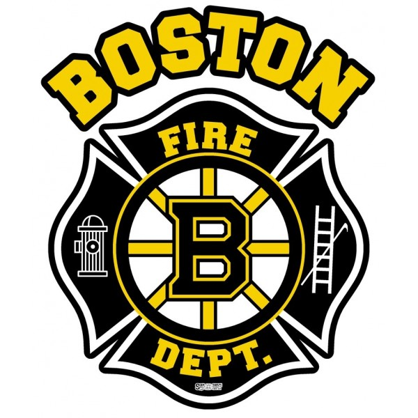 "4"" Window Decals Boston Fire Hockey - No Quantity Discount"